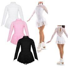 Girls Ice Skating Dress Kid Mock Neck Leotard Figure Roller Skating Costume 5-14