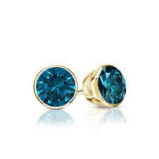Diamantohrstecker 0.50 Karat blaue Diamanten 585/14K Gelbgold + Zertifikat