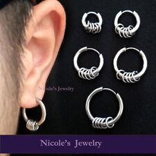 Pair Fashion 316L Surgical Steel Hinged Earrings Clicker Sleeper Hoop Huggies