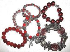 RED BRACELETS BANGLES PEARL JADE CHARM HEART SHAMBALLA LOVELY LADIES GIFT IDEA