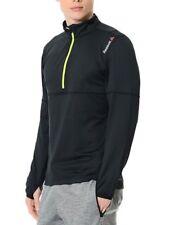 Men's New Reebok Running Jacket Coat Pullover Top Sweatshirt - Black