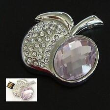 USB Stick 4 GB Apfel Strass Schmuck Anhänger Kettenanhänger Apple Rosa