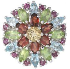 Citrine Garnet Peridot Gemstone Cluster Flower Sterling Silver Ring