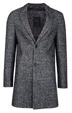 Threadbare Mayfair Mens Smart Over Coat Crombie Style Jacket Salt & Pepper Grey