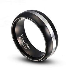 Tungsten Carbide 8mm  Black & Silver Stripe Wedding Band Ring  Size 8-14 TG007