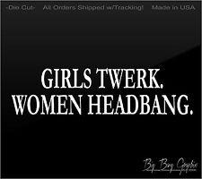 "Funny ""WOMEN HEADBANG"" Vinyl sticker decal Metal Rock Chick Girl Diesel Truck"