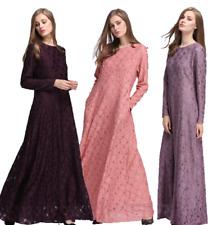 Women Slim Long Sleeve Maxi dress Muslim Abaya Kaftan Jilbab Islamic Cocktail