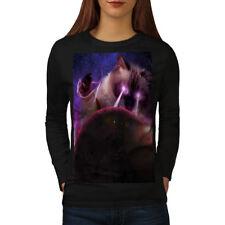 Space Cat Laser Eye Women Long Sleeve T-shirt NEW | Wellcoda