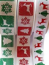 GROSGRAIN CHRISTMAS RIBBON 1M or 3M REINDEER XMAS TREE SNOWFLAKE 22-25MM