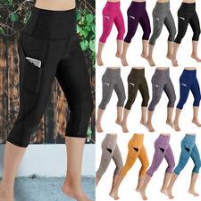 Womens High Waist Capri Yoga Pants Pocket Fitness Leggings Gym Sports Trousers G