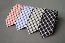 Grid Cotton Wedding Groom Party Business Attire Skinny Slim Necktie Neck Tie