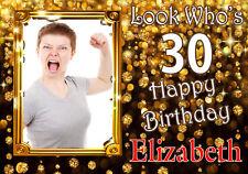 Feliz Cumpleaños Fiesta Cartel Banner Personalizado Foto & Nombre cualquier edad (TP170)