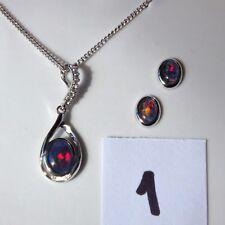 Genuine Australian Black Opal Triplets Set Necklace and Earrings 925 S Silver