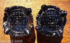 TWO ANTIQUE GLASS PRESSED AMBER INSULATOR PIANO CASA AMERICA