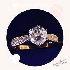 18K Rose Gold Filled Made With Swarovski Crystal Round 1.5 Ct Engagement Ring