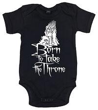 "Game of Thrones Bodysuit ""Born to Take Throne"" Funny Baby Babygrow Swords"