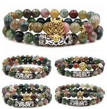 2X Women Men Natural Lava Stone Buddha Lion's Leopard Skull Owl Beads Bracelets