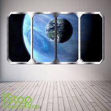 Espacio Planeta Ventana Pared Adhesivo a Todo Color-Tierra Planetas nave espacial SP14