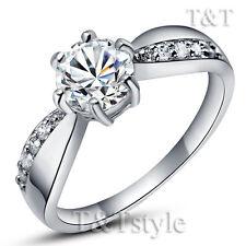 TTstyle 18K White Gold GP Engagement Wedding Ring 6mm Main Stone