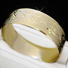 Ladies 20mm WIDE 14K Yellow GOLD ep DIAMOND CUT SOLID BANGLE | sz: MEDIUM