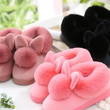 5b6635e00cc2 Women s Winter Warm Soft Slippers Cotton Rabbit Ears Home Shoes Anti-Skid