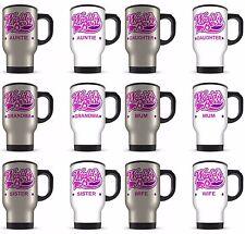 14oz Worlds Best Female Relation Novelty Gift Aluminium Travel Mug - Pink