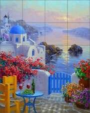 Ceramic Tile Mural Backsplash Senkarik Mediterranean Seascape Art MSA165