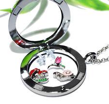 WALDSPAZIERGANG + Medaillon Kette Anhänger Magnetverschluss FLOATING CHARMS Glas