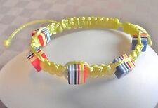 Bracelet Fantaisie inspiré Shamballa Perles cubes cordon Jaune Chamballa cadeau