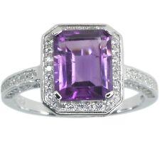 Amethyst Baguette Gemstone Elegant Sparkling Sterling Silver Ring