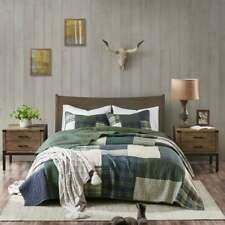 New! Cozy Classic Green Blue Beige Plaid Log Cabin Lodge Southwest Quilt Set