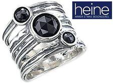NEU: BREITER RING 925er-STERLING SILBER mit 3 AMETHYSTEN + ONYX 15 HEINE *007671
