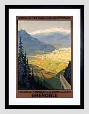 Alpes route lyon paris train grenoble services noir encadré art imprimé B12X6115