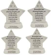 New Memorial Diamante Star Shaped Grave Plaque Sentimental Home Garden Keepsakes