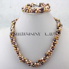 "20"" 8"" 5-6mm MultiColor Baroque 3Row Freshwater Pearl Necklace Bracelet B—BUNDLE"