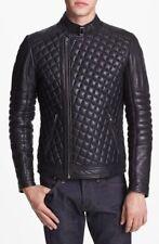 Noora Men Lambskin Leather Jacket Genuine Quilted Slim fit Biker Winter Fall