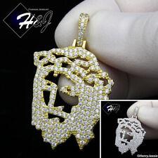 MEN 925 STERLING SILVER LAB DIAMOND BLING SILVER/GOLD JESUS PENDANT*SP163