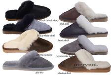 Womens Sheepskin Slippers  Genuine Mule chestnut Shoes slip on 3 4 5 6 7 8
