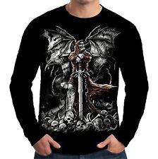 Velocitee Para Hombre Manga Larga T Shirt la tumba Reaper Grim Esqueleto Goth a11259