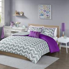 Beautiful Modern Purple Grey White Chevron Stripe Girls Comforter Set & Pillow
