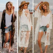 Women Chiffon Kimono Cover Up Boho Beach Long Plus Size Sunscreen Maxi Coat Nice