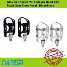 MKS AR-2 Ezy Pedals 9/16 Classic Road Bike Fixed Gear Track Pedal -Silver/Black