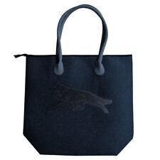Filztasche Shopper Tasche hochwertige Stickerei Hund Schaeferhund 26190 blau
