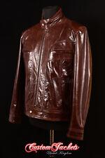 Men's HUDSON Brown 80's Retro ROCKSTAR Oasis Real Lambskin Leather Jacket