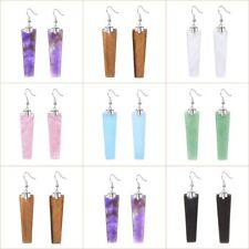 "Handmade Natural Gemstone Jewelry Trapezoid Slab Dangle Earrings 2"""