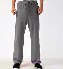 Ejercicio Para Hombre Estilo Chino Pantalones informales Pantalones De Lino Algodón Tai Chi mañana