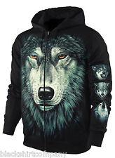 Sweatshirt-Jacke / Hoody Kapuzenjacke Wolfskopf