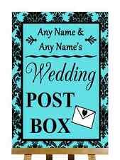 Tiffany Blue Black Damask Post Box Personalised Wedding Sign