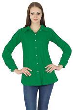 Long Sleeve Top Button Down Green Kurta Casual Cotton Shirt Blouse Women Wear