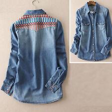 New blue wash embroidered yoke denim shirt size 6-10